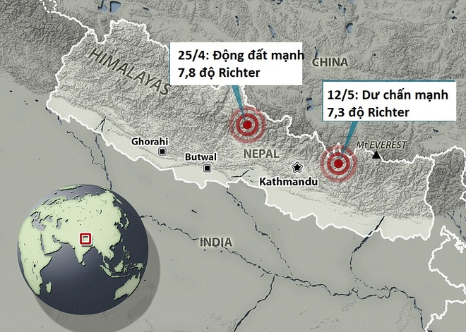 Dong dat 7,3 do Richter tai Nepal la du chan manh hinh anh 1 Ảnh: Daily Mail
