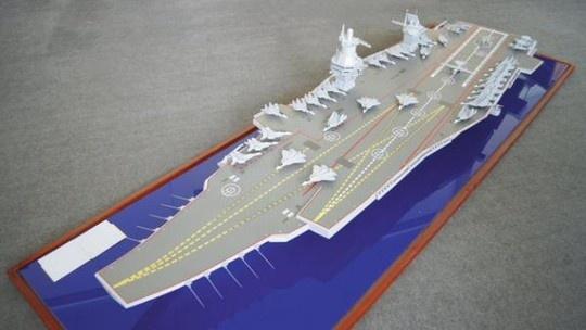 Nga he lo thiet ke sieu tau san bay 100.000 tan hinh anh 2 Mô hình siêu tàu sân bay lớp Shtorm của Nga. Ảnh: Twitter