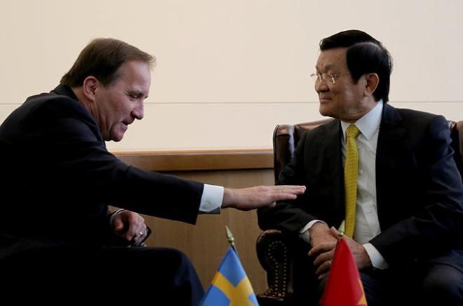 Thuc day EU cong nhan quy che kinh te thi truong cua VN hinh anh 1 Chủ tịch nước Trương Tấn Sang đã gặp Thủ tướng Thụy Điển Stefan Lofven. Ảnh: Giản Thanh Sơn