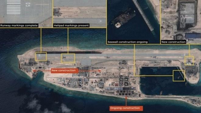 'Trung Quoc nen hanh xu nhu nuoc lon o Bien Dong' hinh anh 2 Ảnh vệ tinh chụp ngày 20.9 cho thấy Trung Quốc đã xây xong đường băng trên Đá Chữ Thập