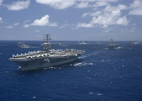 Ham doi 3 Hai quan My dich chuyen ve tay Thai Binh Duong? hinh anh 1 Hạm đội 3 Hải quân Mỹ trong tập trận RIMPAC. Ảnh: FPRI