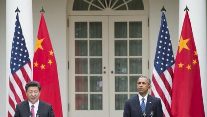 Chủ tịch Tập Cận Bình và Tổng thống Obama phát biểu tại cuộc họp báo ở Vườn hồng, Nhà Trắng, ngày 25/9.