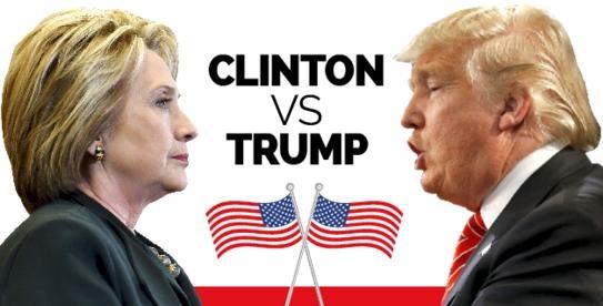 Buc tranh doi lap giua ba Clinton va ong Trump hinh anh