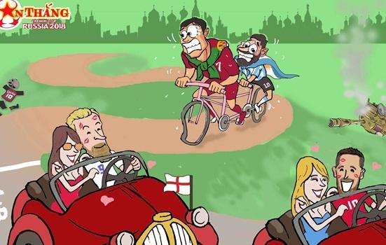 Hi hoa Ronaldo dap xe cho Messi duoi theo xe xin cua Kane, Hazard hinh anh