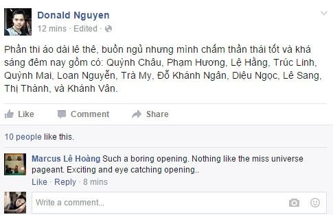 Pham Thi Huong dang quang Hoa hau Hoan vu hinh anh 23 Chuyên gia Hoa hậu Donald Nguyễn bình luận về màn trình diễn áo dài của các người đẹp.