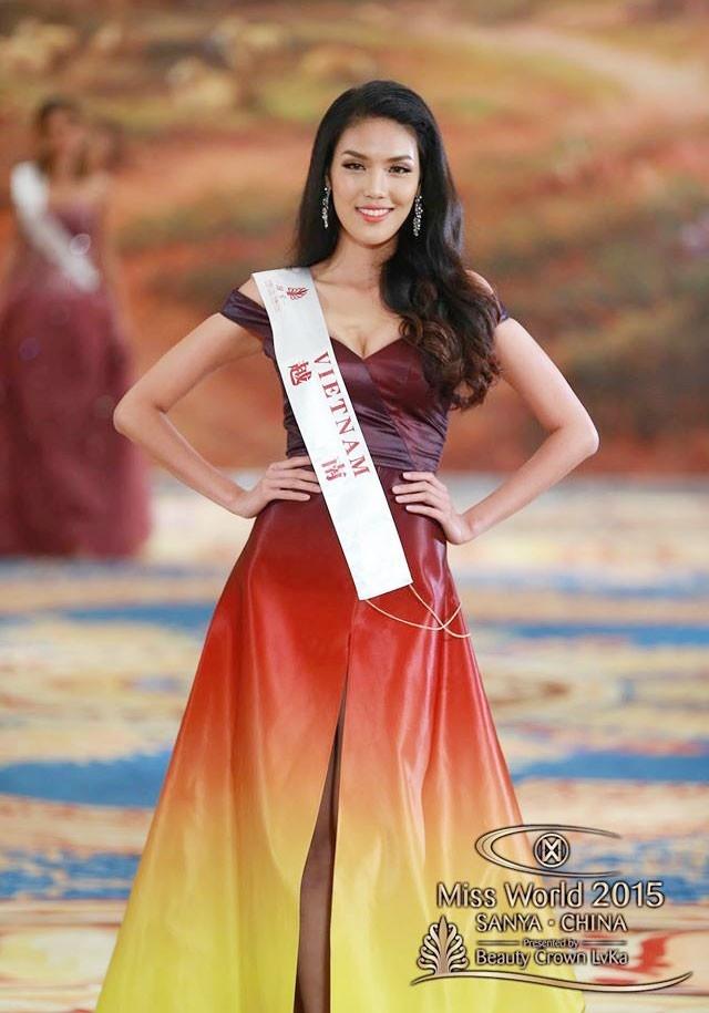 Lan Khue: 'Toi voi Pham Huong khong phai la doi thu' hinh anh 2 Váy dạ hội của Lan Khuê vào top 10 Miss World. Ảnh: Miss World