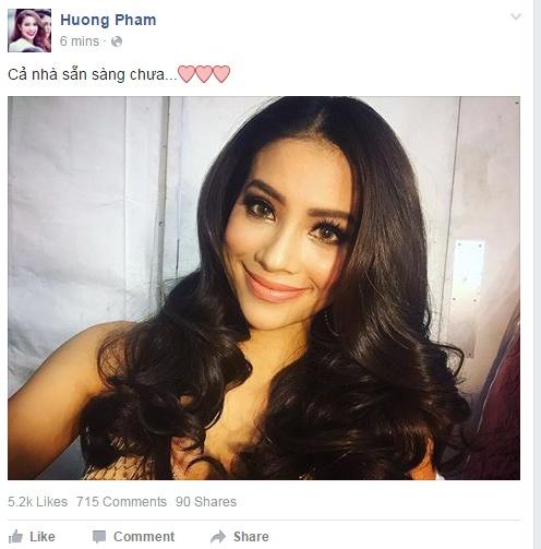 Nguoi dep Philippines dang quang Miss Universe 2015 hinh anh 8 Trên trang cá nhân, Phạm Hương vừa đăng bức hình cho thấy cô đã sẵn sàng chuẩn bị cho đêm chung kết. Ngay lập tức, bức hình nhận được hàng nghìn lượt like và hàng trăm comment ủng hộ.