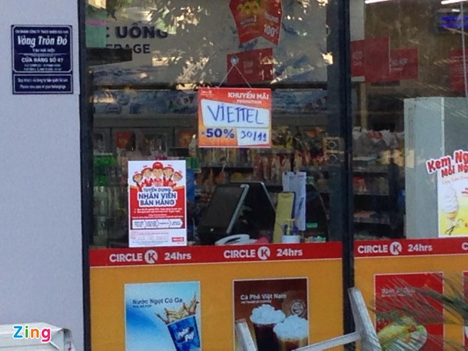 Sieu thi mini cong khai ban the Viettel khuyen mai 50% hinh anh 1