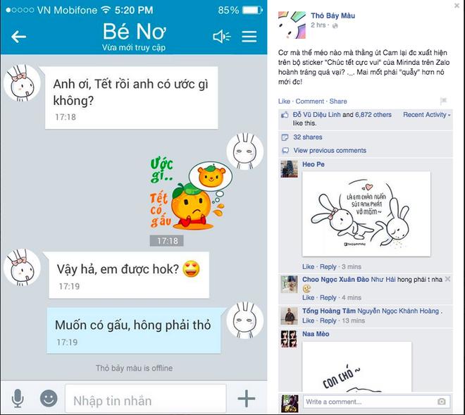 Út Cam của bộ sticker Chúc Tết cực vui xuất hiện hài hước trong post của Thỏ Bảy Màu.