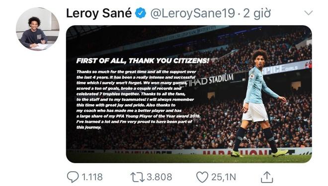 Leroy Sane gui loi tri an toi Man City va HLV Guardiola anh 1