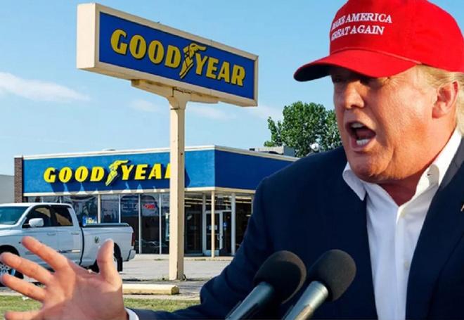 Donald Trump keu goi tay chay hang lop oto Goodyear anh 1