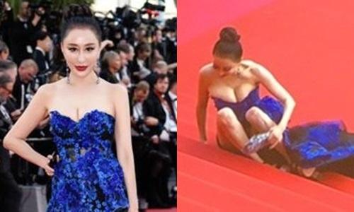 Hoa hau 'vo ech' tren tham do Cannes bi khan gia keu goi tay chay hinh anh