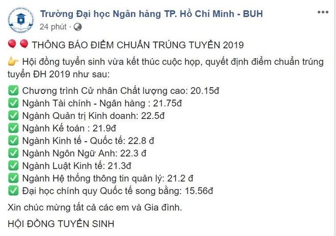 DH Ngan hang TP.HCM cong bo diem chuan 2019 hinh anh 1