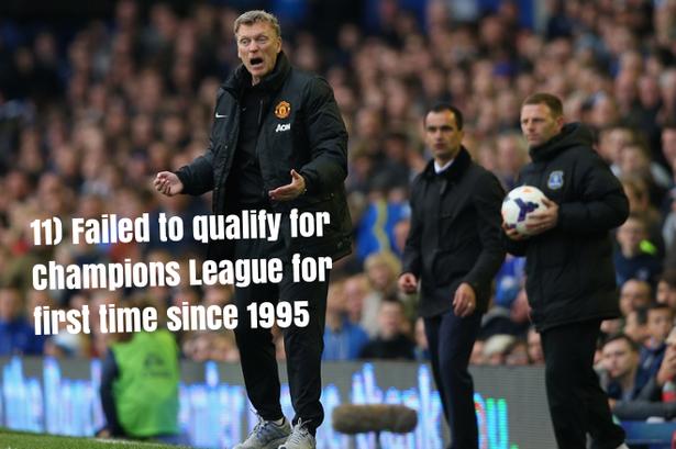 11.Lần đầu tiên M.U không giành quyền dự Champions League kể từ năm 1995.