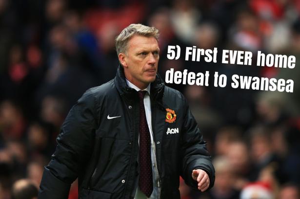 5.Lần đầu tiên trong lịch sử, M.U thua Swansea trên sân nhà vào ngày 5/1/2014.