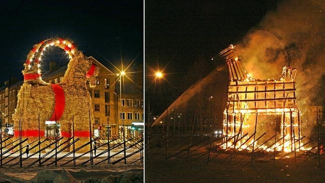Người dân ở thị trấn Gavle, Tây Ban Nha, dựng hình nộm dê Giáng sinh và đốt nó vào cuối dịp lễ. Ảnh: