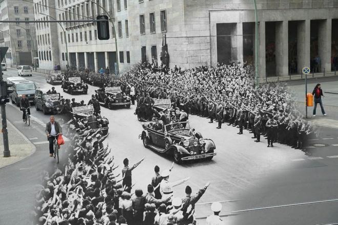 70 nam sau The chien II: Berlin ngay ay - bay gio hinh anh 1 Đám đông vui mừng đón lãnh tụ Đức Quốc xã Adolf Hitler (1889 - 1945) trên đường từ Munich tới Berlin, ngày 02 tháng 10 năm 1938. Năm 2015, cũng khung cảnh ấy, nhưng không ồn ã, người dân qua lại giữa giao lộ Wilhelmstrasse và Leipziger Strasse