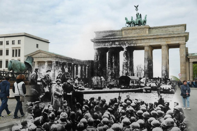 70 nam sau The chien II: Berlin ngay ay - bay gio hinh anh 3 Một trong những hình ảnh nổi bật nhất của quân đội Nga ở phía trước tàn tích của Cổng Brandenburg, cuối Chiến tranh Thế giới thứ hai vào năm 1945 đối lập với hình ảnh người đi bộ qua cổng với tác phẩm điêu khắc trên Pariser Platz.
