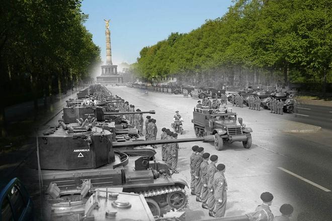 70 nam sau The chien II: Berlin ngay ay - bay gio hinh anh 5 Đại soái Anh dẫn quân đồng minh gần công viên Tiergarten và hình ảnh xe ô tô chạy dọc theo đại lộ Strasse des 17. Juni qua công viên Tiergarten.