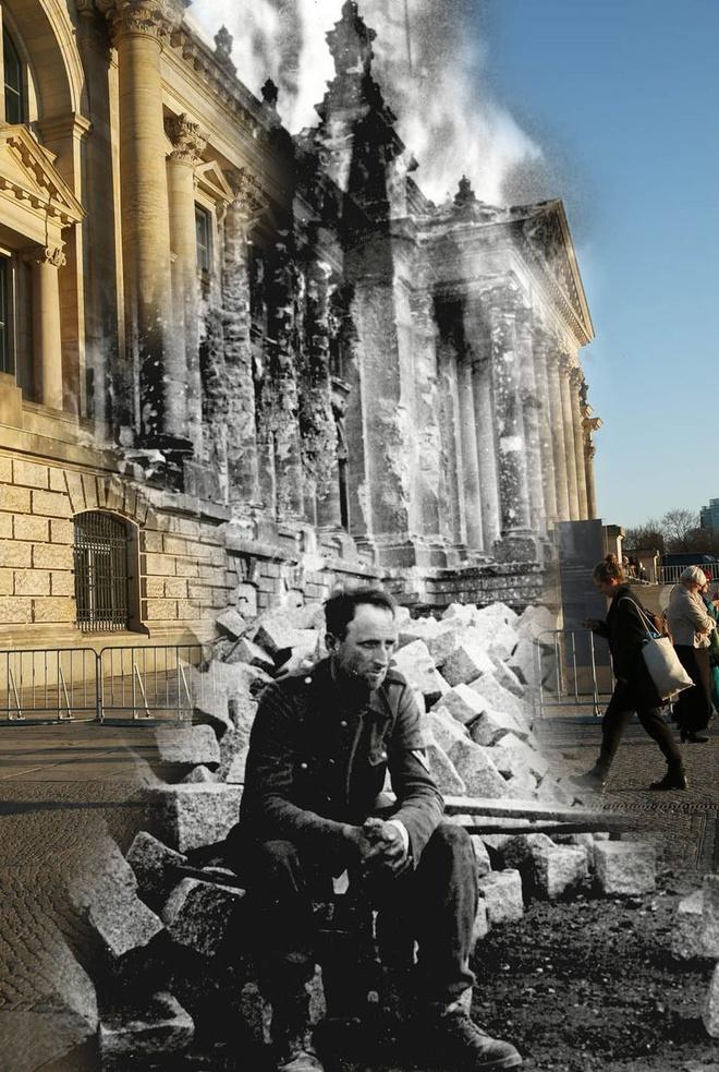 70 nam sau The chien II: Berlin ngay ay - bay gio hinh anh 7 Một người lính Đức đang ngồi phía trước những tàn tích của Reichstag ngày 09 tháng 05 năm 1945 và cũng từ góc chụp tương tự ngày 18 tháng ba năm 2015 tại Berlin, Đức.