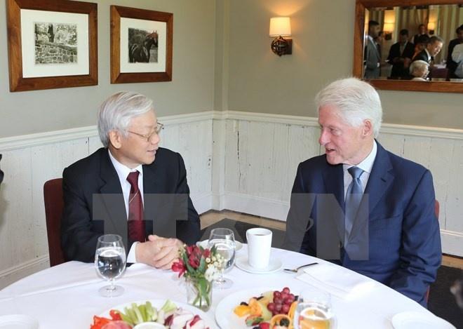 Tong Bi thu tham gia dinh cuu Tong thong Hoa Ky Bill Clinton hinh anh 1 Tổng Bí thư
