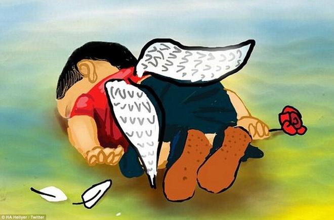 Be trai Syria hoa thien than trong long cu dan mang hinh anh