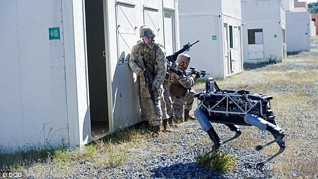 Robot 4 chan co the xung tran cung linh My hinh anh 2 Trong một thử nghiệm, chó máy quan sát phía trong tòa nhà trước khi lính thủy đánh bộ xông vào. Ảnh: Bộ Quốc phòng Mỹ