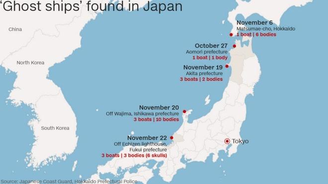 Nhat dieu tra nhung con tau bi an dat vao bo bien hinh anh 2 Vị trí các tàu được tìm thấy ở Nhật Bản từ tháng 10 năm nay. Ảnh: Japanese Coast Guard