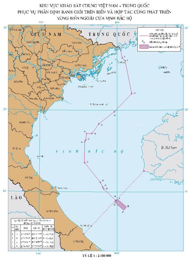 Viet-Trung khao sat khu vuc thoa thuan ngoai cua vinh Bac Bo hinh anh 1 Khu vực khảo sát chung có diện tích 386,7 km2 thuộc vùng biển ngoài cửa vịnh Bắc Bộ. Ảnh: Bộ Ngoại giao