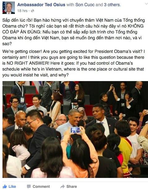 Dai su My nho doc gia len lich trinh cho Obama o Viet Nam hinh anh 1