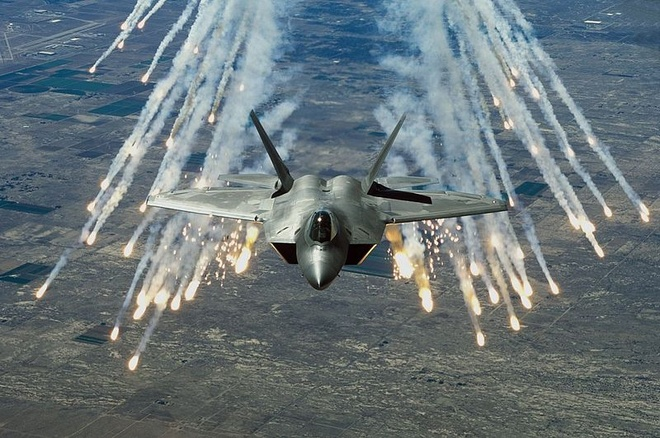 Chim an thit F-22 diet muc tieu hinh anh