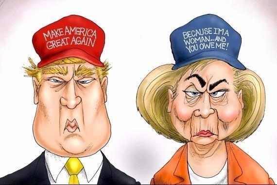 Man doi dau giua Trump va Clinton qua tranh biem hoa hinh anh
