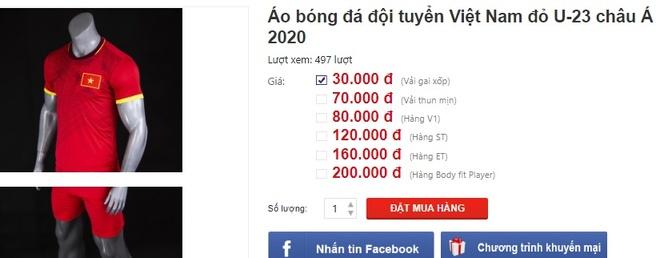 Ao dau Viet Nam nhai ban 30.000 dong/bo truoc tran voi U23 UAE hinh anh 1 Untitled.jpg