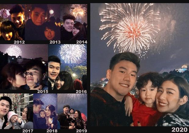 Như thường lệ, ngày đầu tiên của năm mới, hot mom Trang Lou đều khoe tấm ảnh ghép được chụp vào khoảnh khắc giao thừa kể từ khi bắt đầu mối tình với chồng cô - hot boy Tùng Sơn. Tính đến nay, đôi trẻ đã cùng nhau trải qua 9 đêm 30 Tết với