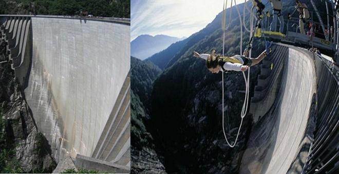 7. Đập Verzasca, Thụy Sĩ: Nằm trên dòng sông Verzasca ở Ticino với độ cao 220m, đập Verzasca (hay còn gọi là đập Contra) trở thành điểm nhảy bungee thu hút rất nhiều khách từ sau cảnh nhảy xuống của Jame Bond trong bộ phim