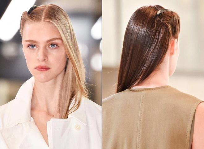 6. Cài tóc thập niên 70. Phong cách thời trang cổ điển, quý phái trong những năm 70 của thế kỉ trước tiếp tục là nguồn cảm hứng cho kiểu phụ kiện tóc năm tới. Dùng cài tóc đơn sắc, bản trơn trên tóc mái và để lệch đuôi tóc qua một bên vai sẽ mang lại vẻ đẹp vừa cổ điển vừa năng động cho những cô nàng hiện đại.