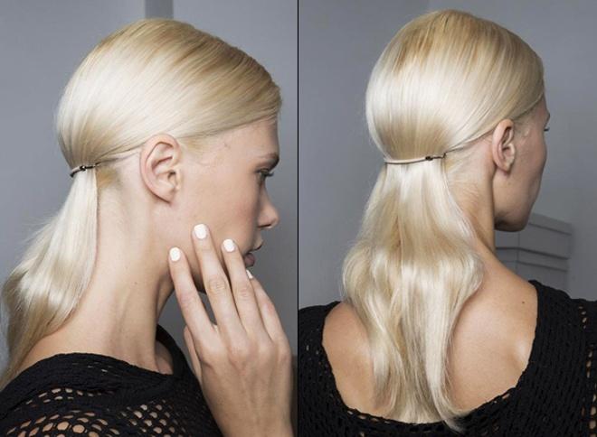 7. Thun buộc tóc. Buộc túm mái tóc dài theo kiểu đuôi ngựa với những sợi dây chun màu sắc đơn giản, nhẹ nhàng sẽ giúp bạn có ngay một kiểu tóc rất mốt trong năm mới này.