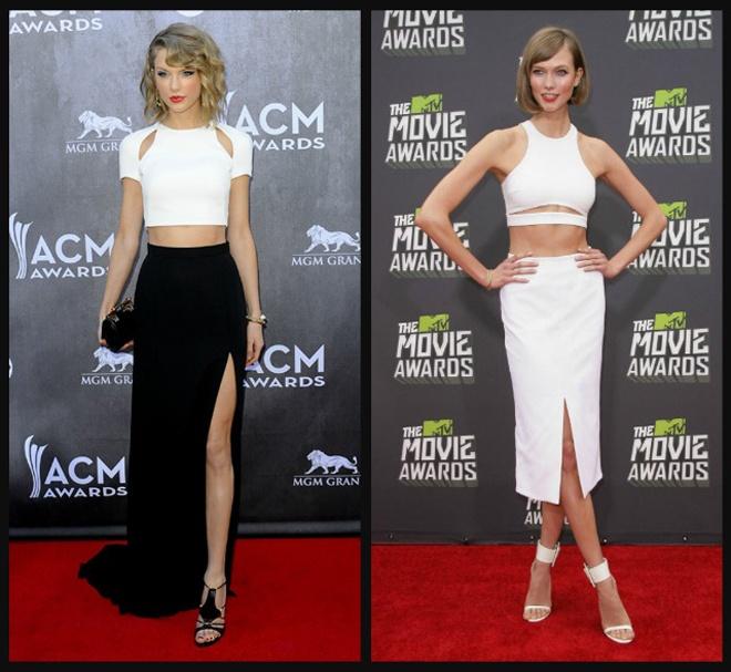 Style tuong dong cua cap doi Taylor Swift - Karlie Kloss hinh anh 12 Ngay cả đến khi dự tiệc hay trên thảm đỏ, công chúa nhạc đồng quên và thiên thần Victoria's Secrect ăn ý với các thiết kế dạ hội có cùng đường cut – out khoe eo thon rất gợi cảm và quyến rũ.