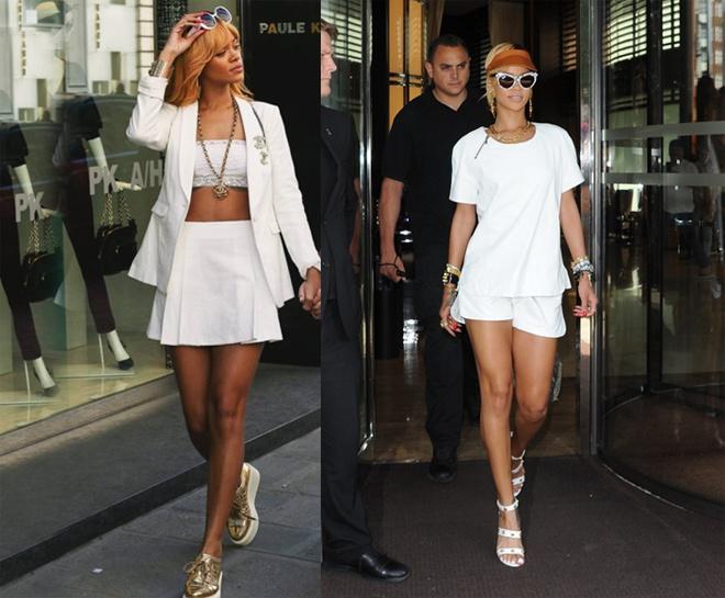 Bi quyet chon mau trang phuc hop voi tung loai da hinh anh 7 Dù màu trắng được cho là không phù hợp với các nàng da nâu, nhưng trên đường phố thời trang thế giới vẫn có hàng loạt fashionista có nước da sậm màu hay rám nắng như nữ ca sĩ Rihanna  mặc white on white cực đẹp. Vì vậy bạn cũng đừng ngại thử nghiệm phong cách monochrome nguyên cây trắng sành điệu này trong năm mới.