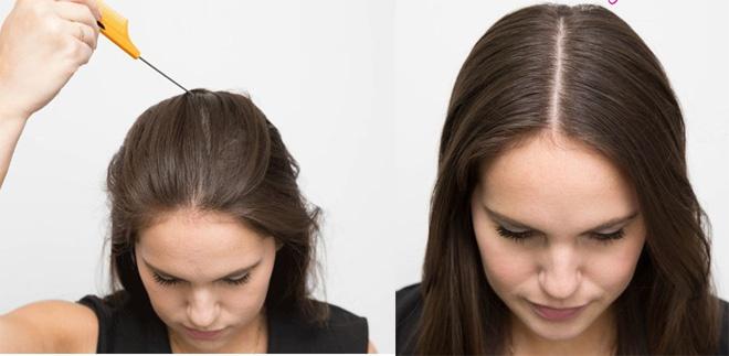 10 meo lam dep doc dao danh cho co nang ban ron hinh anh 1 1. Rẽ ngôi tóc hoàn hảo. Dùng lược gom toàn bộ phần tóc mái ra phía sau. Lấy phần cán lược rẽ tóc thành 1 đường thẳng từ phía trên trán đến đỉnh đầu, thay vì dùng răng lược như bình thường. Bạn sẽ nhanh chóng có ngay đường ngôi giữa thẳng tắp và hoàn hảo.