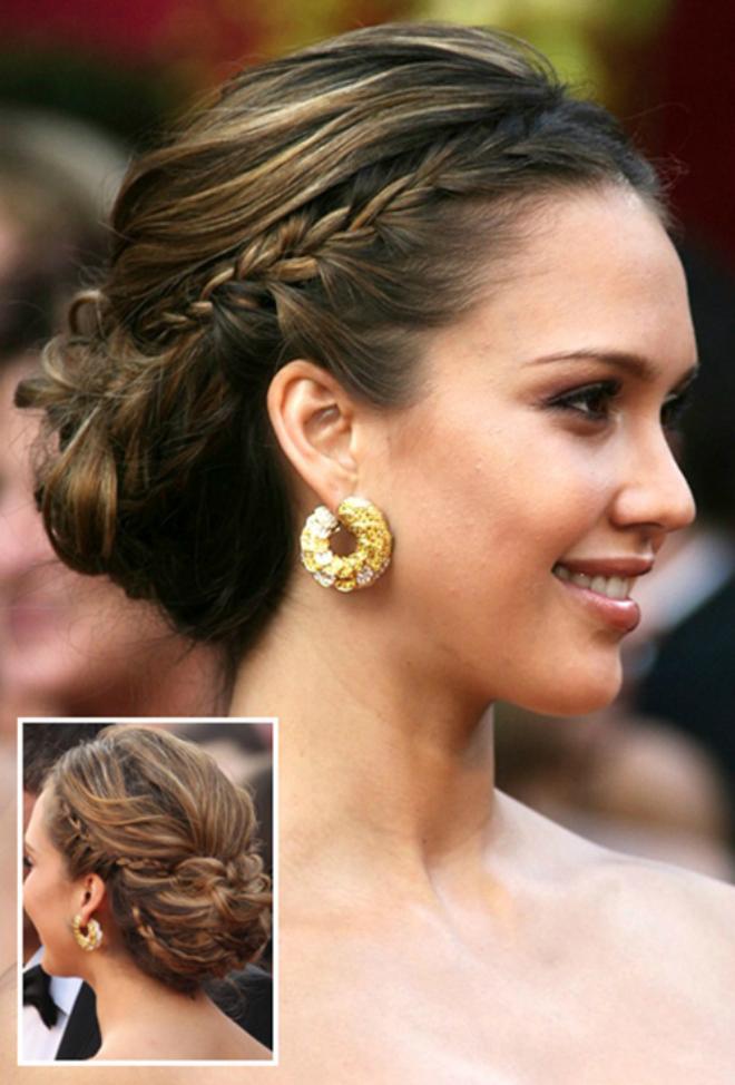 Đi dự đám cưới: Với sự kiện quan trọng như đám cưới, bạn có thể chọn kiểu tóc tết kết hợp búi thấp.