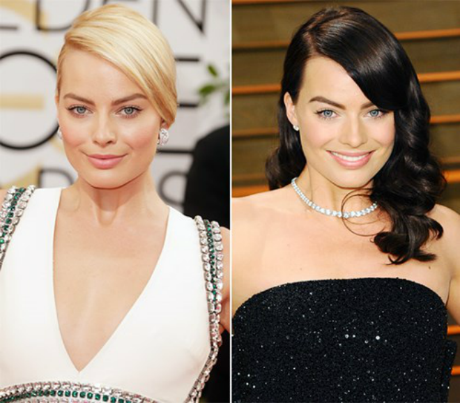 Sao Hollywood quyen ru hon nho thay doi kieu toc hinh anh 2 Diễn viên Margot Robbie gây ấn tượng với mái tóc nâu đen khác lạ. Màu tóc cổ điển này giúp người đẹp The Wolf of Wall Street làm mới phong cách tóc vàng hiệu quả.