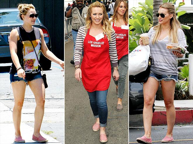 Sao Hollywood lam duyen voi giay de coi hinh anh 3 Cô nàng Hilary Duff chọn một thiết kế đế cói nhẹ nhàng với gam màu hồng nữ tính. Ảnh: Atspace.