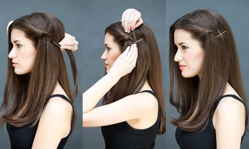 Goi y 10 kieu toc dep, don gian chi trong 10 giay hinh anh 3 Tóc mái lệch: Vén một lọn tóc mai, xoắn tròn rồi dùng 2 chiếc cặp tăm cặp cố định. Đan chéo cặp tăm tạo hình chữ X để làm điểm nhấn cho kiểu tóc.