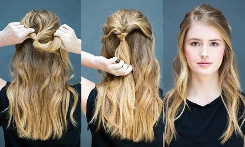 Goi y 10 kieu toc dep, don gian chi trong 10 giay hinh anh 4 Tóc buộc nửa xoắn: Buộc nửa tóc rồi cuộn tròn 2 lượt phần tóc bị buộc quanh nút thắt.