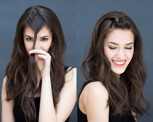 Goi y 10 kieu toc dep, don gian chi trong 10 giay hinh anh 7 Tóc mái xoắn: Xoắn tròn phần tóc mái hoặc phần tóc ở phía trên thóp nếu bạn không để tóc mái, rồi cặp gọn lại phía sau.