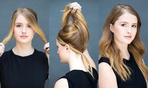 Goi y 10 kieu toc dep, don gian chi trong 10 giay hinh anh 9 Tóc băng đô: Lấy 2 lọn tóc hai bên mai buộc gọn phía sau gáy giả làm băng đô, vén toàn bộ tóc lên che đi nút buộc.