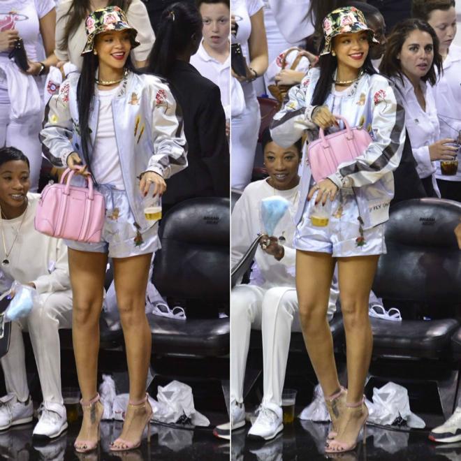 7 kieu ao khoac duoc long sao Hollywood ngay lanh hinh anh 13 7. Áo khoác bóng chày: Rihanna nổi bật với áo khoác bóng chày ánh kim bắt mắt. Khi mix đồ với kiểu áo khoác thu hút này, bạn nên phối cùng áo trơn màu, đơn giản bên trong.