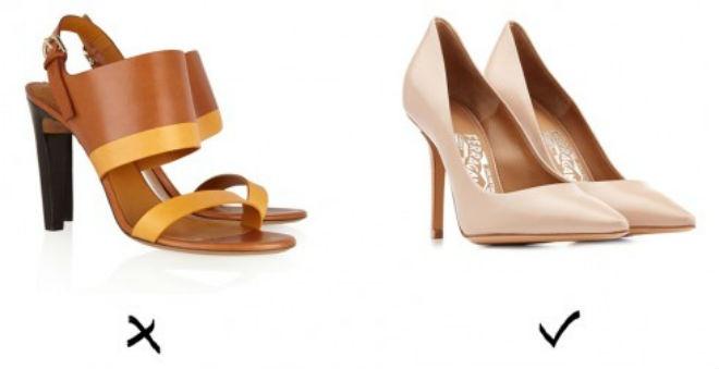6 item giup an gian chieu cao cho co nang nam lun hinh anh 2 2. Giày cao gót: Những đôi giày có quai to sẽ làm đôi chân của bạn trông ngắn ngủn. Giày cao gót không quai, đặc biệt là màu nude, sẽ giúp bạn sở hữu vóc dáng thon gọn bất ngờ.