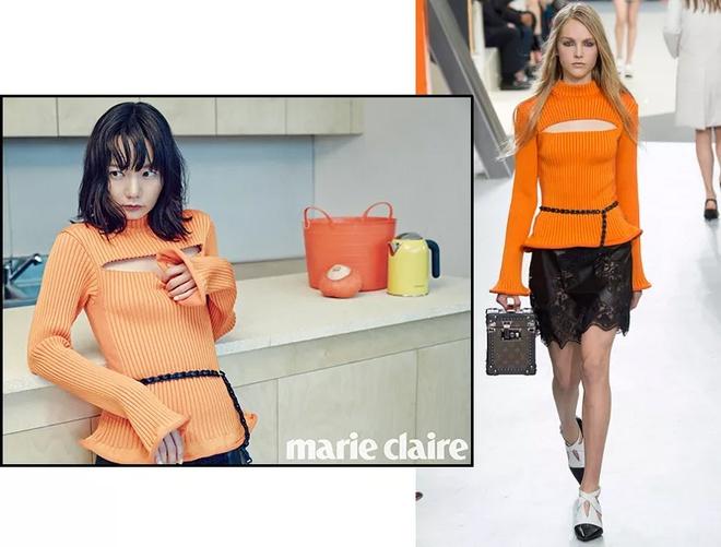 Bi quyet mac ao len cao co ngay lanh cua sao Han hinh anh 8 Bae Doo Na showed her love for Louis Vuitton